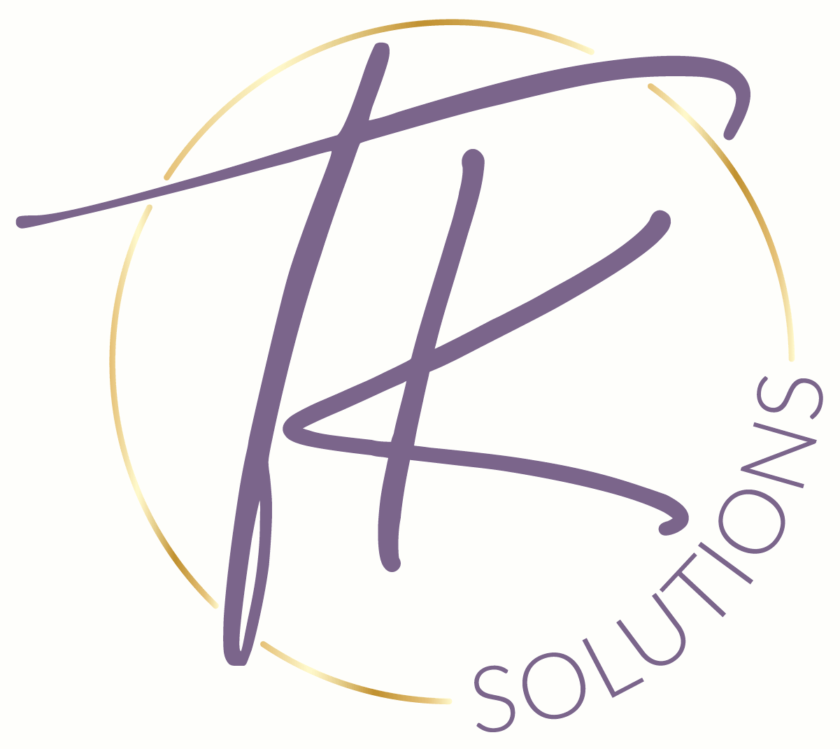 strategic accounting solutions tk solutions logo with purple letters and gold foil circle